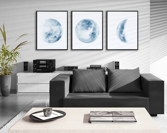 Moon Phases Watercolor Art Prints - Set of 3 Blue Lunar Phases Prints - Moon Chart Posters - Housewarming Gift