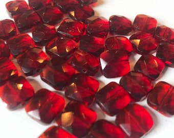 8mm Red Faceted Square Czech Glass Beads