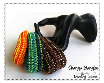 CRAW Beading Pattern and Instructions for Wide Cubic Right Angle Weave Bangles. Beaded seed bead Jewelry beading Tutorial SHANGA BANGLES