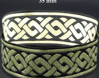 10 m Ribbon embroidered Jacquard * Celtic braid * 35 mm width