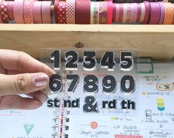 Numbers 3X4 Photopolymer stamp set/Planner Accessories: Erin Condren, Filofax, planners
