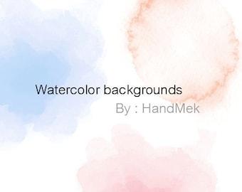 Water color background clipart set 1 Instant Download PNG file - 300 dpi.