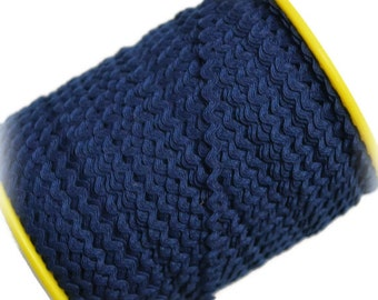 "Narrow Navy Blue RicRac. 3/16"" Navy Blue Ric Rac Trim. Skinny Navy Blue Ric Rac. Scalloped Navy Blue Trim. 3 Yards"