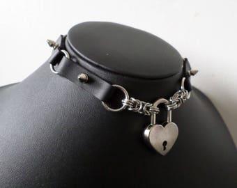 Studded PU Leather Panel Heart Padlock Choker - Discrete Locking Gothic Day Collar