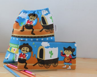 Kids pencil case,lunch bag,cowboy,pencil case,kids lunch bag,sandwich bag,school bag,cartoon bag,school kit,children pencil case