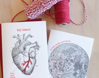 To the moon and back PLUS Anatomical heart 2x letterpress cards, Mother's Day, Father's Day, card for men, vintage illustrations