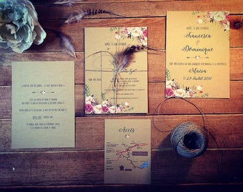 Chic bohemian wedding invitation, flowers