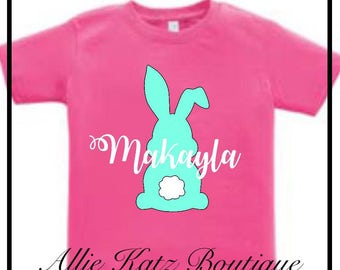 Easter Bunny personalized rabbit kids holiday tee tshirt Guaranteed Easter delivery on orders by April 7th