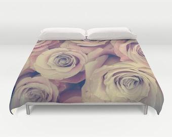 ROSES Duvet Cover, Pink Bedding, Flower bedding, Unique design, Rose, Rad, Dorm, Floral, Lilac, Twin, Full Queen, King, Retro, Vintage, Dorm