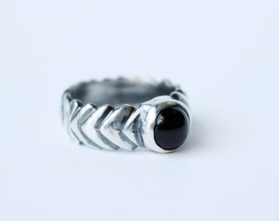 Silver and Onyx Unisex Ring   handmade jewelry