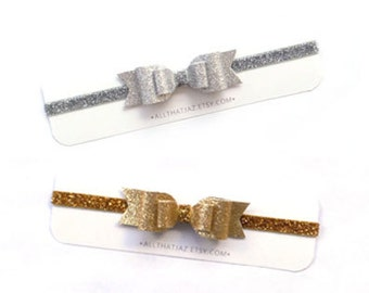 Glitter Bow | glitter headband | gold glitter bow | silver glitter bow | mommy and me | big sis little sis | twinning