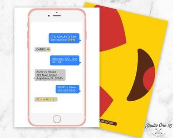 Text Message Birthday Invitation, Text Message Invitation, Emoji Party Invite, Emoji Invitations, Teen Invitation, Teen Birthday, Emoji
