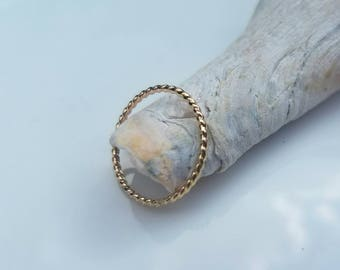 Dainty 14k gold rope ring, size 6.75