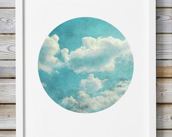 Printable Photography Vintage Style Abstract Clouds Sky Nature Blue Teal Mint Turquoise Living Room Nursery Decor Circle Trendy Wall Decor