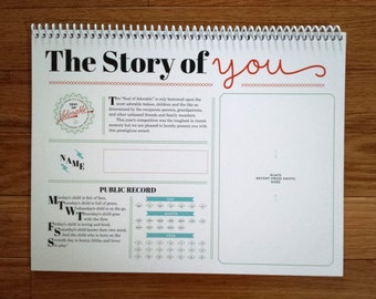 The Story of You. An undated 13 month keepsake calendar for baby.