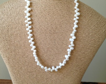 50% OFF Freshwater Pearl Necklace, Top-Drilled Pearls, Off- White Pearls, Cream Pearls, Everyday Pearls, Pearl Strand, Silver Plated