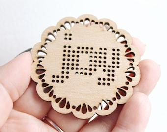 SET OF 5 - Joy Cross stitch pendant blank - blanks Wood Needlecraft Pendant, wooden cross stitch blank -Odv-ng-6-60 - New year