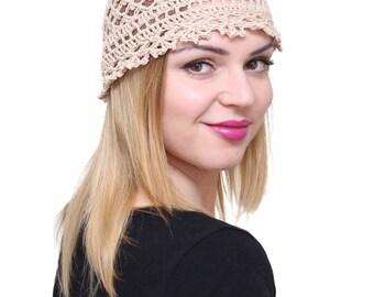 Lace summer hat, Women's sun hats, Womens beach hats, Crocheted beige beanie, Knitted hat, Handmade knit hat, Crocheted cotton hat Light cap
