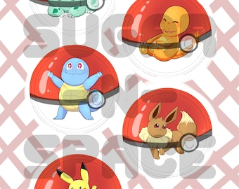 Pokemon 2.25in Buttons - Kanto Squirtle, Charmander, Bulbasaur, Pikachu, Eevee, or REQUEST A POKEMON!