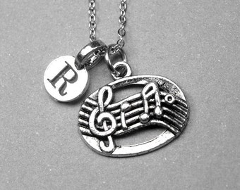 Musical Notes Necklace, music score charm, antiqued silver plated pewter, initial necklace, initial hand stamped, personalized, monogram
