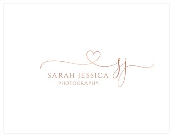 Premade Photography Logo and Watermark,  Initial Logo, Rose Gold  Logo, Script Font Logo, Heart Swash Logo 481