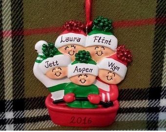 Personalized Family Christmas Ornament Family of 5 Sledding - Christmas Ornament for Family - Gift for Mom - Gift for Grandma