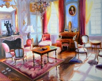 Original Oil Painting, FRANÇAIS INTÉRIEUR, street scene, purple and yellow, pink bougainvillea