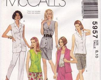 FF McCalls 5957 Plus Size Womens Suit Sleeveless Blouse Vest Skirt Pants & Shorts Sewing Pattern, 3 sizes available: 8-10,18-24, UNCUT