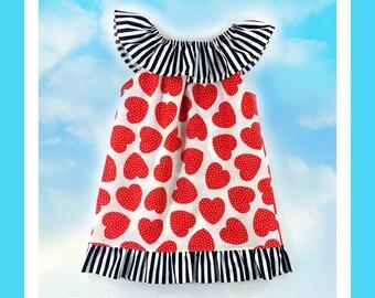 Ruffled Neckline Top/Dress Pattern with ruffles sizes 6m -12 girls PDF