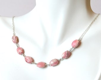 Rhodochrosite and Sterling Silver Necklace.
