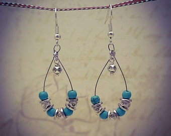 Silver Turquoise Oval Hoop Tiger Tail Earrings  [E115]