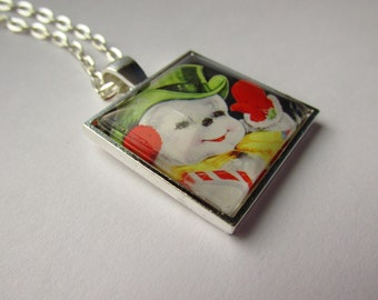 Square Glass Dome Pendant with Vintage Snowman Graphic,Stylish Chain, Stylized Art, Vintage Snowman, Christmas Gift, Winter Jewelry