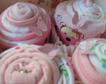 Baby Girl Onesies, Bibs, Burp Cloths and Washcloth Yummy 8 Piece Cupcake Set