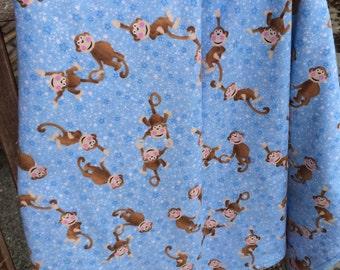Flannel Baby Blanket / Kid Car Blanket - Swinging Monkeys, Personalization Available