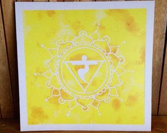 Solar Plexus Chakra Watercolour Art ~ Wall Art Meditation Spiritual Art Print