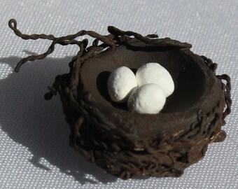 Miniature Wren Eggs with Nest