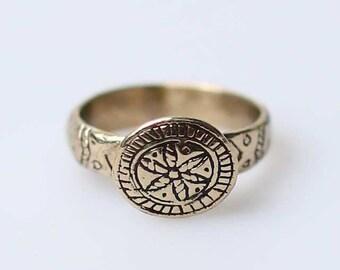 Ethnic ukrainian brass ring