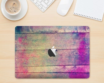 The Pink & Blue Grunge Wood Planks Skin Kit for the Apple MacBook Air - Pro or Pro with Retina Display (Choose Version)
