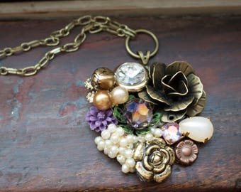 Vintage Collage Necklace 005 - Statement Necklace, Upcycled Vintage Jewelry, Found Object Jewelry, Handmade Necklace, OOAK, Wearable Art