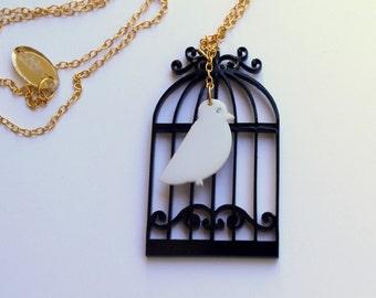 The Birdcage Necklace,Plexiglass Jewelry,Lasercut Acrylic,Gifts Under 25