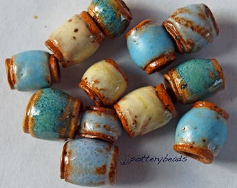 Beads, Handmade beads, Ceramic Beads, Stoneware beads, Beads with 3mm holes, Pottery beads, large hole beads