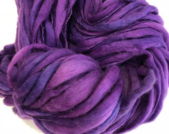 Handspun Thick n Thin art yarn. Merino wool. Hand dyed. Super soft. 5.3oz 120 yards