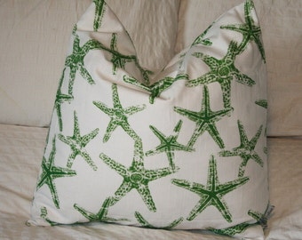 """20"""" x 20"""" Square Pillow Cover - Green and White Starfish, Cushion Cover, Throw Pillow, Premier Prints, Baby, Nursery, Home Decor"""