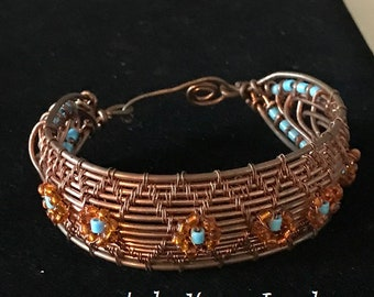 Woven Copper Cuff with Turquoise-colored Beads