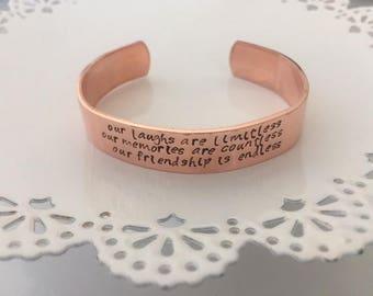 Friendship Cuff Bracelet | Friendship Bangle | Gift for Friend | Cuff Bracelet | Stamped Cuff Bracelet | Cuff Bracelet for Friend