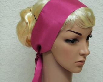 Pink headband, hair scarf, head scarf, hair covering, long hair accessory, tie back headscarf, 102 x 8 cm