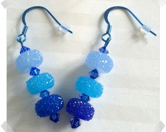 Sparkling Blues Colorsparx Earrings -- Faceted Ombre Acrylic & Swarovski Crystals on Shiny Blue Metal Findings