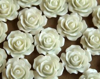 CLOSEOUT - 20 pc. White Crisp Petal Rose Cabochons 18mm | RES-001