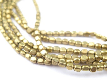 260 Brass Rounded Rectangle Beads - Rounded Cube Beads - Tiny Brass Spacers - Tiny Metal Spacers - Brass Spacer Beads (MET-CUB-BRS-375)