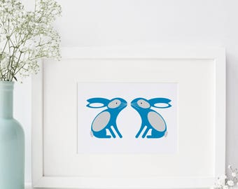 Bunny Rabbit A4 Art Print Blue Woodland Nature Wall Art